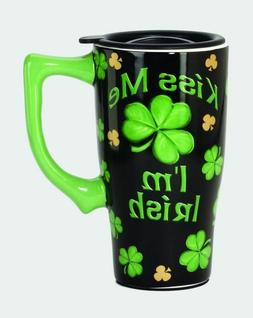 Kiss Me Irish Clover Ceramic Coffee Travel Mug, Plastic Lid