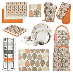 Kitchen Accessories Orange Leaf Oven Gloves Mitts Dinner Tab