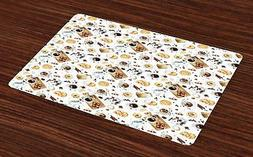 Kitchen Theme Placemats Set of 4 Ambesonne Washable Fabric P