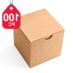MESHA Kraft Boxes 100 Pack 3X 3 x 3 Inches, Brown Paper Gift