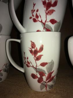 "Corelle KYOTO LEAVES Porcelain 12 Oz Mug 4.25"" Red Gray - PA"