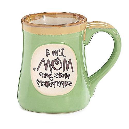 1 X I'm a Mom Superpower Lime Green 18 Oz Mug