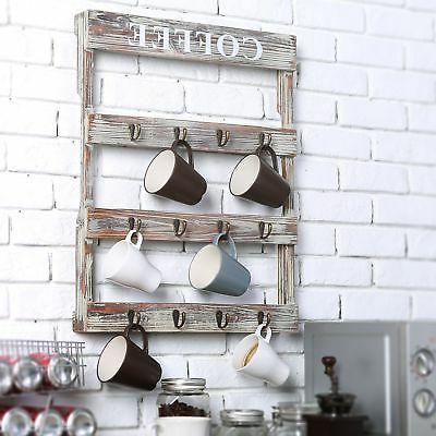 MyGift 12-Hook Wood Kitchen Storage Rack,