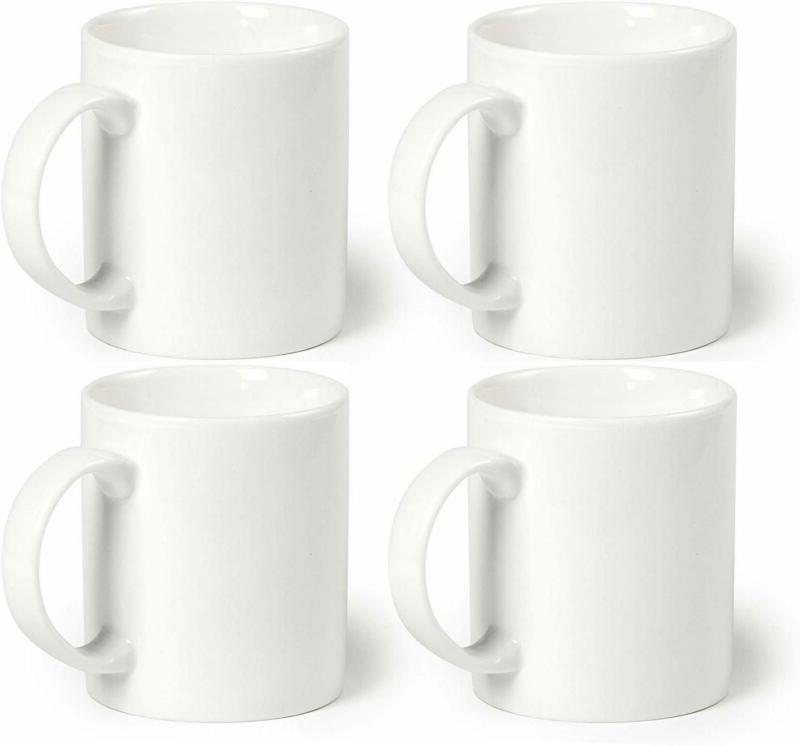 Momugs 12 oz Cup , Plain Gloss White Ceramic Coffee Mug for