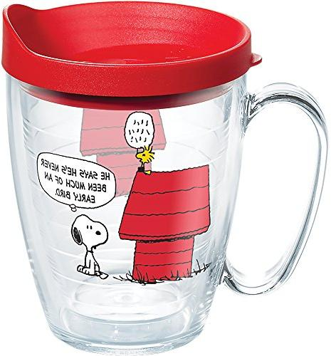 Tervis 1269608, bird freshest coffee and it this adorable Woodstock mug. Red