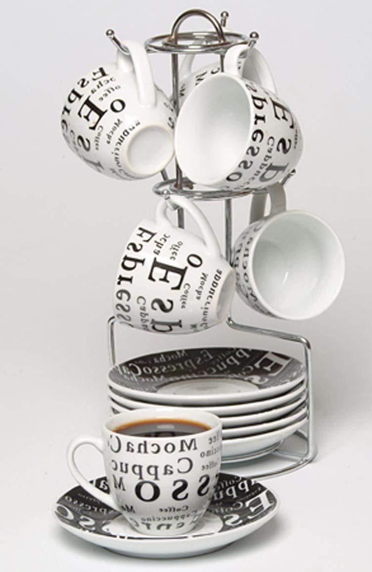 13 Piece Espresso Cup And Saucer Set Storage Rack Tea Cup Co