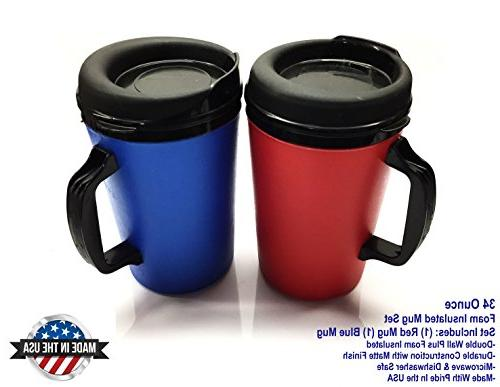 2 ThermoServ Foam Insulated Coffee Mugs 34 oz  Blue &  Red
