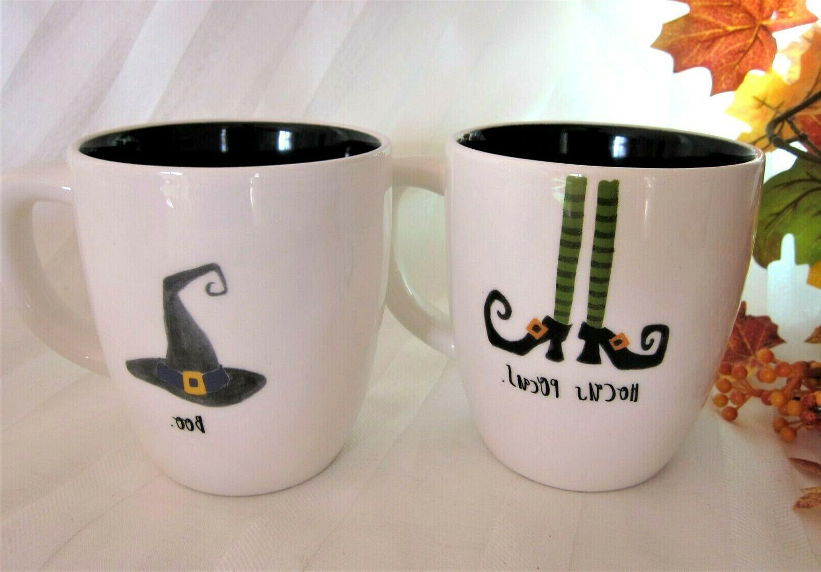 2 Halloween Black Mugs HOCUS & Hat