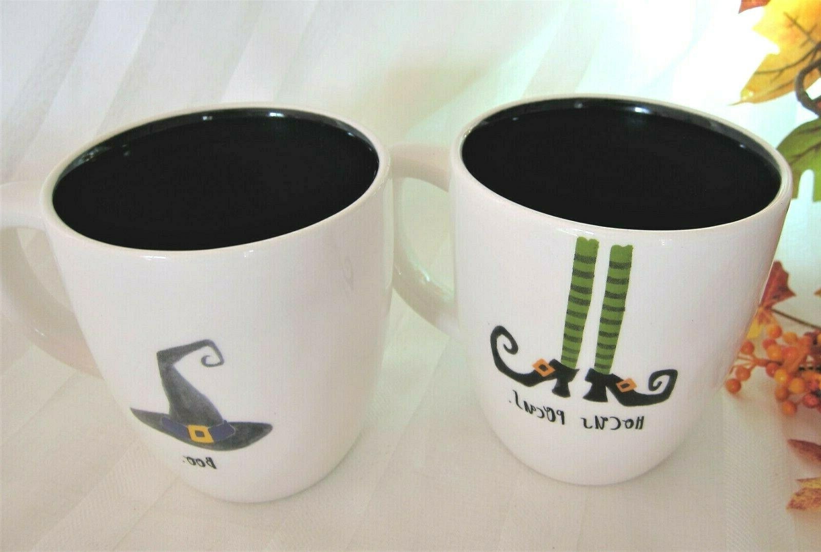 2 halloween black mugs witch shoes hocus