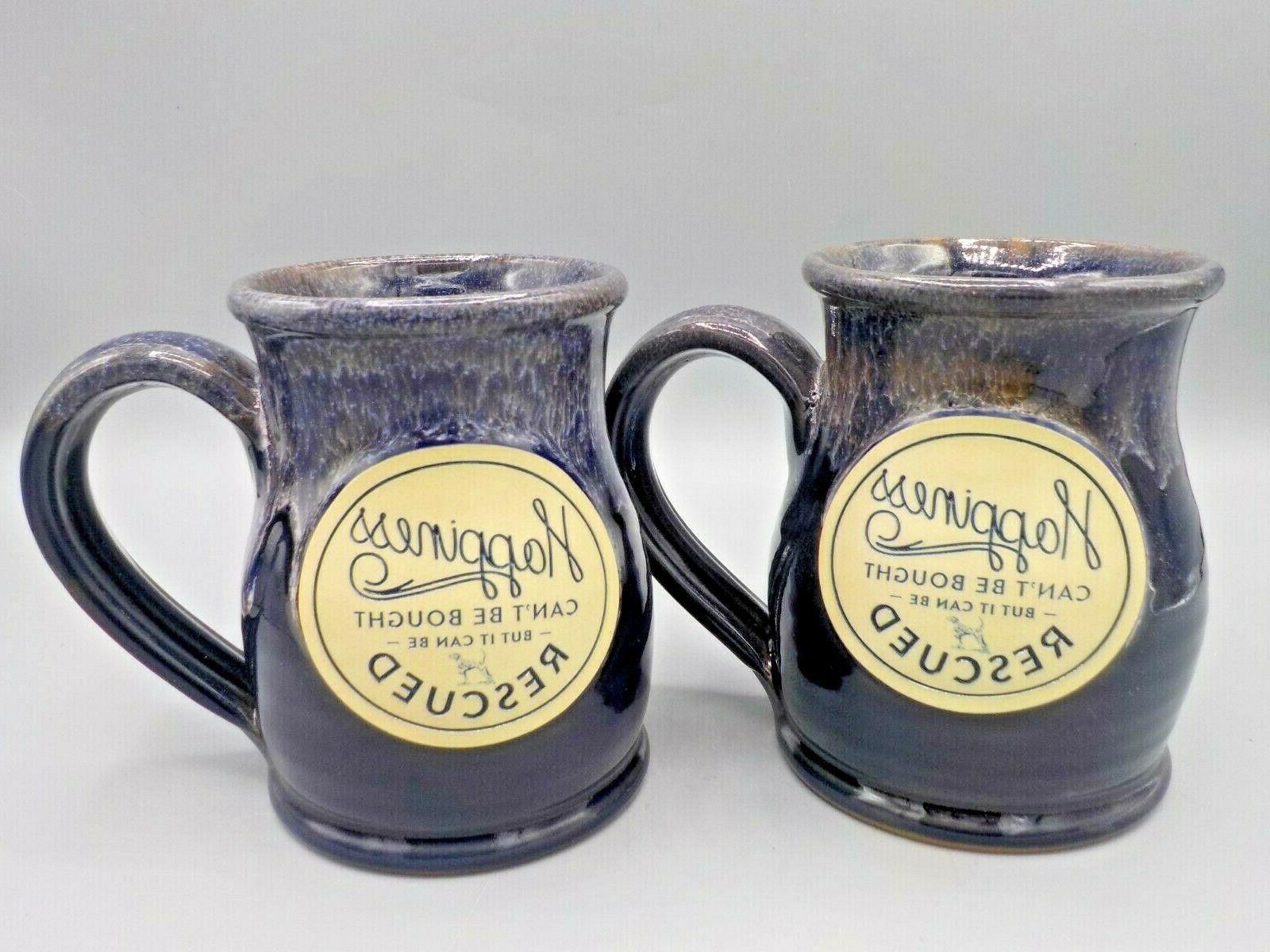 2 new deneen studio pottery mugs dog