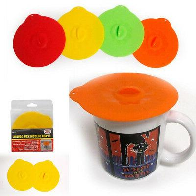 2 Pc Silicone Leakproof Cup Cover Coffee Tea Sealing Mug Wra
