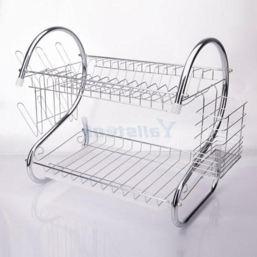2 Kitchen Dish Cup Drying Holder Metal Rack
