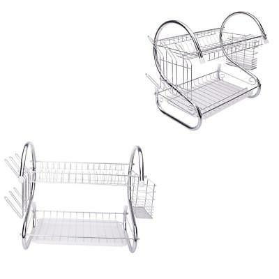 2 tiers kitchen dish cup drying rack