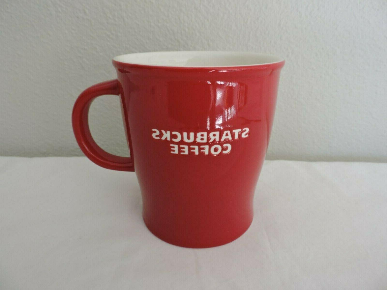 Starbucks Red Ceramic White Embossed 14 oz New