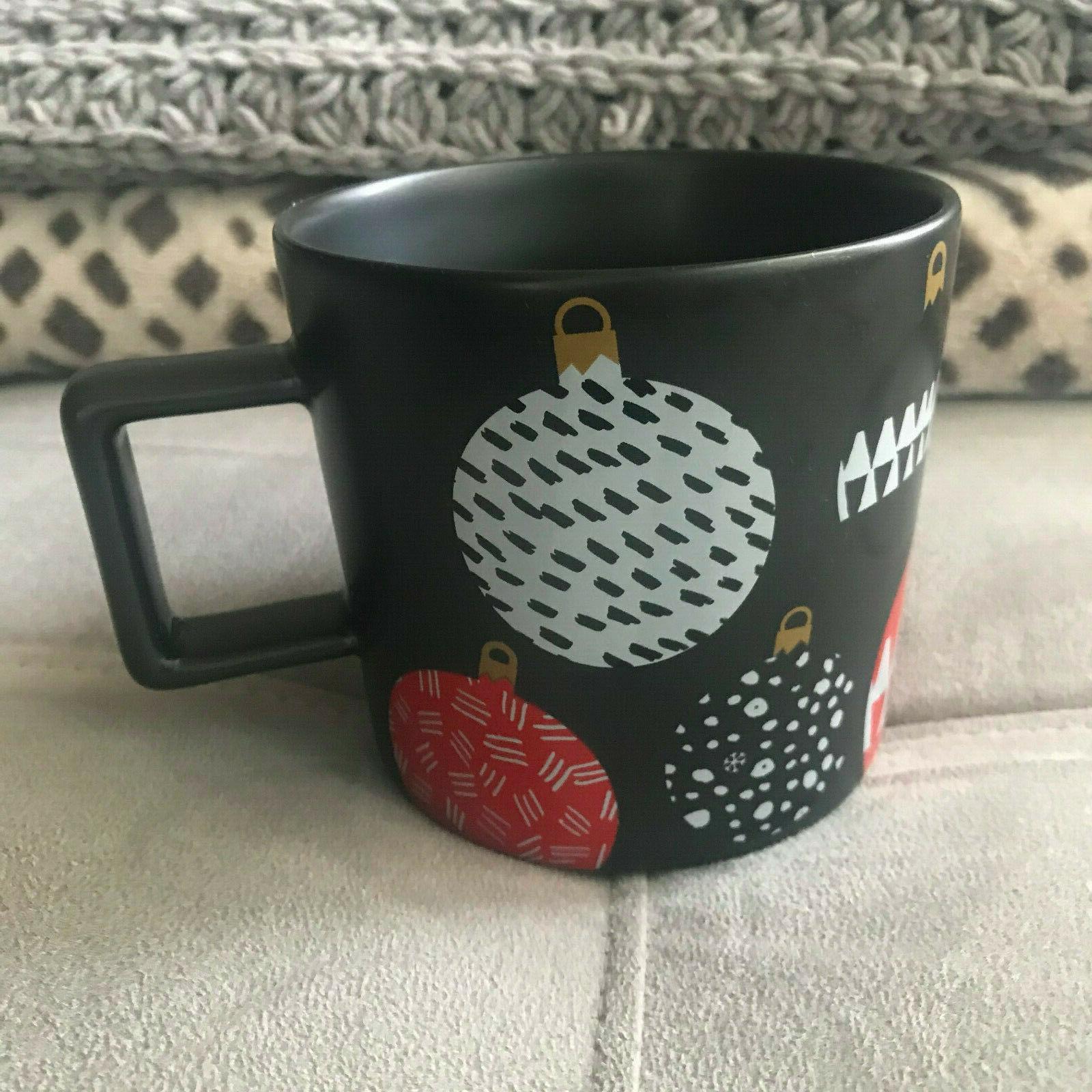 Starbucks 2016 Black Ornaments Ceramic Coffee 14oz NEW