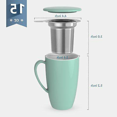Sweese Mug with Infuser and Lid, 15 OZ, Green