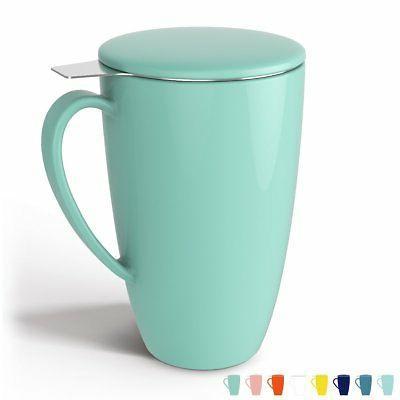 Sweese 2109 Porcelain Tea Mug with Infuser and Lid, 15 OZ, M