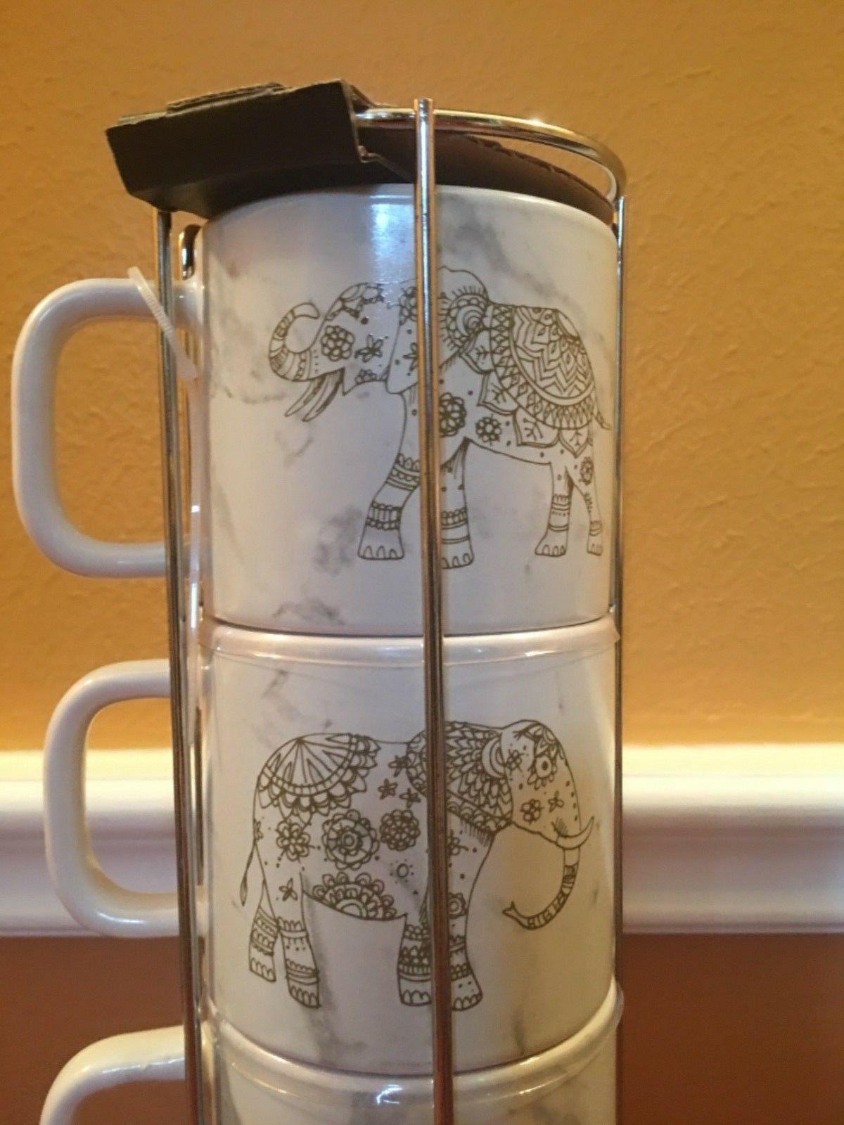 4 Stacking Porcelain Mugs Stainless Steel