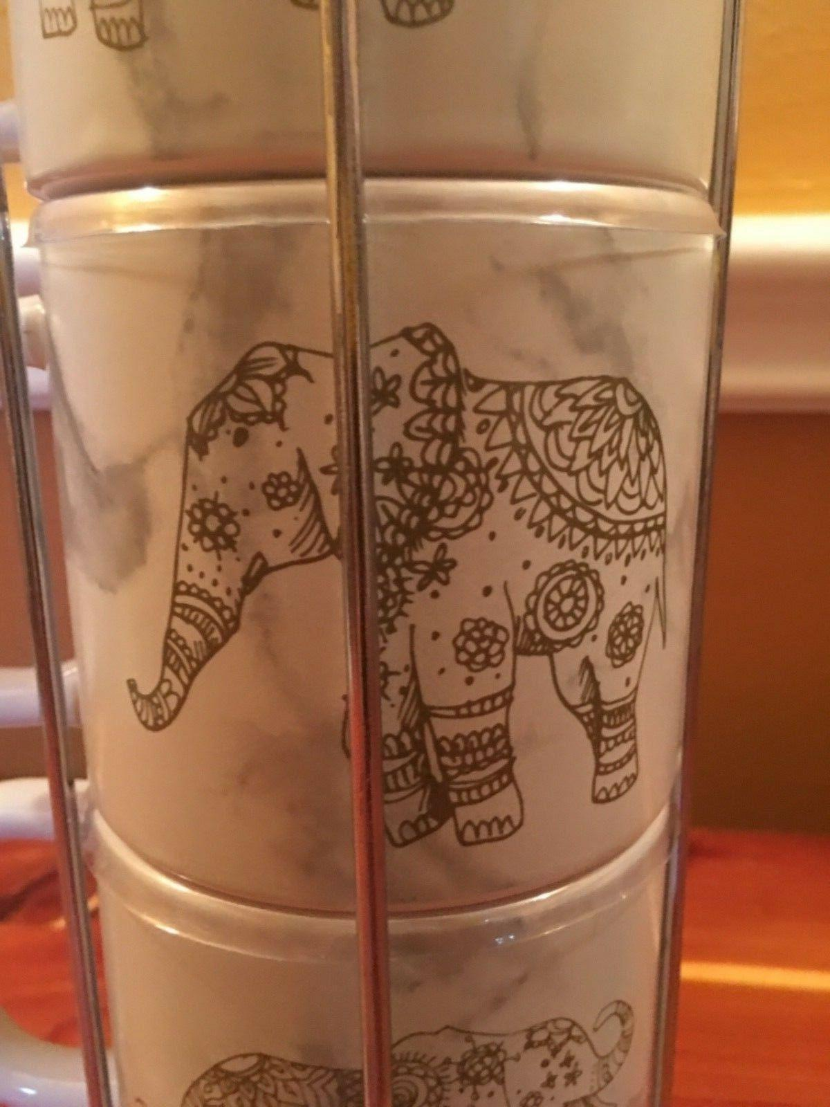 4 14oz. Elephant Porcelain Cups Stainless Steel