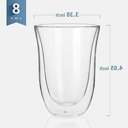 Sweese Glass Mugs - 8 Double Wall Insulated Glasses , Suitable Cream, Tea, Beverage, of