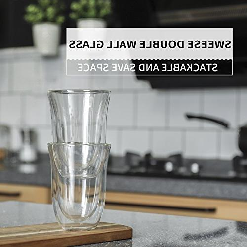 Sweese Mugs Double Borosilicate Glasses Suitable for Cappuccino, Latte, Cream, Tea, Beverage, Set