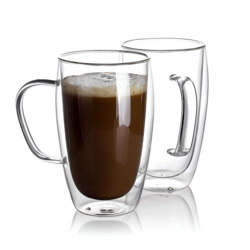 Sweese 4612 Glass Coffee Mugs Set of 2 - Double Wall Tall In