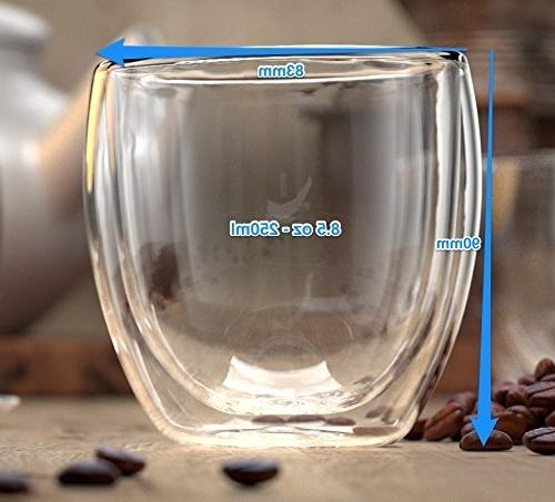 Stone Mill Wall Insulated Glass Cups of Glasses Latte, Lungo, or Americano, Collection 8.5 Ounce