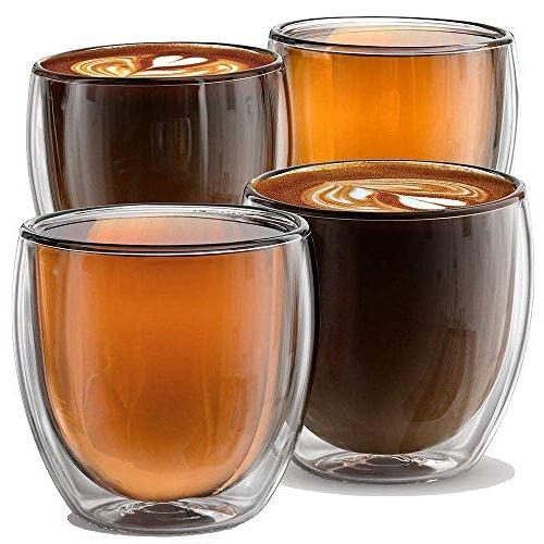 Stone Mill Wall Espresso Cups of 4, Glasses Lungo, Americano, Collection AM-01, 8.5 Ounce