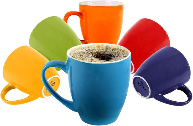 Klikel 6 Colored Coffee Mugs Set - 16Oz Flat Bottom Stonewar