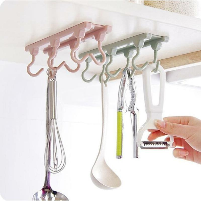 6 Hooks Cup Holder Coffee Mug Kitchen Storage Rack Cupboard