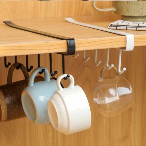 6 Under Shelf Mug Cup Kitchen Organiser Hanging Holder