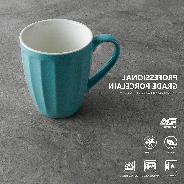 Sweese Porcelain Mugs - 14 for Coffee, Tea, Set