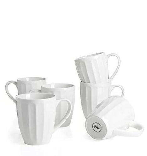 Sweese 6208 Porcelain Fluted Mugs 14 Ounce for Coffee Tea Co