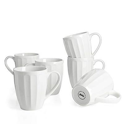 Sweese 6208 Porcelain Fluted Mugs - 14 Ounce for Coffee, Tea