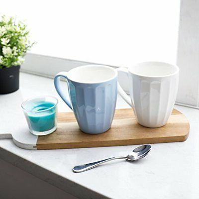 Sweese Porcelain Fluted Mugs 14 Ounce For Set 6,