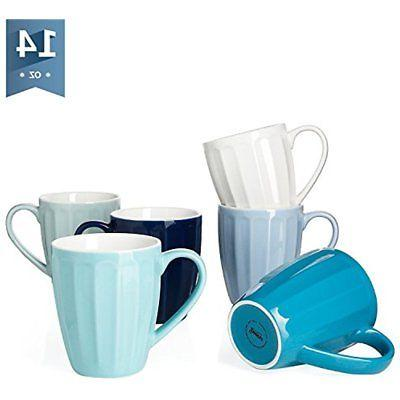Sweese 6210 Porcelain Fluted Mugs - 14 Ounce For Coffee, Tea