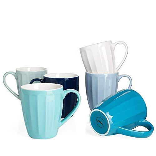 Sweese 6210 Porcelain Mugs Cocoa Set of 6 Tea 14 Ounce for Coffee Cold Assorted Colors Fluted mugs