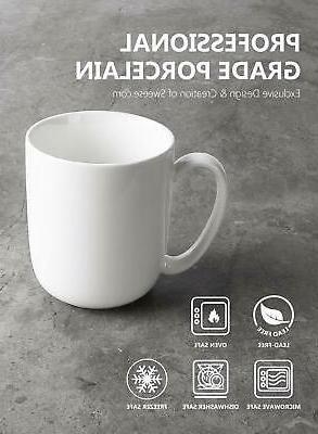 Sweese Porcelain Mugs for Coffee, Tea, 15 Ounce,