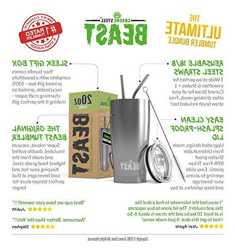 BEAST 20oz Stainless Tumbler Coffee Double Wall Travel Flask Mug Straws, Gift Greens Steel