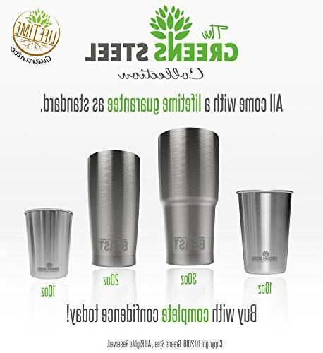 Tumbler Insulated Coffee Cup Wall Travel Flask Mug with Splash Straws, Pipe Gift Box Greens Steel