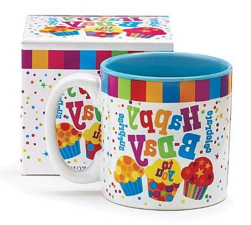 Festive Happy Birthday 13 Oz Coffee Mug with Cupcakes and Co