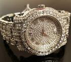 Men Hip Hop Iced out White Gold Techno Pave Bling Simulated