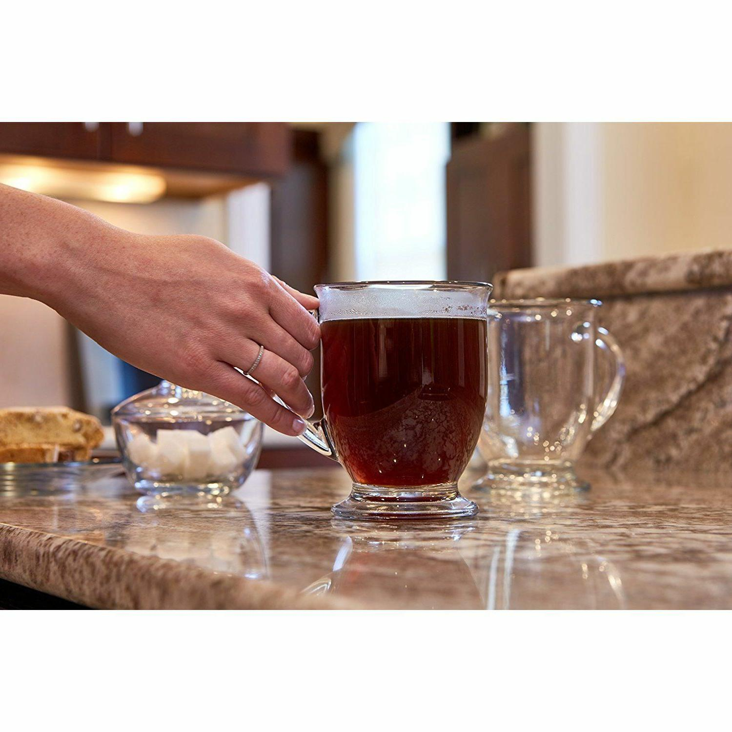 Anchor Hocking 4-Piece Cafe Mug Set Clear