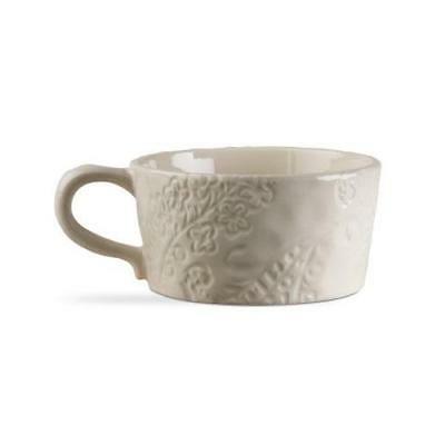 TAG Soup Mug Coffee Large Handle Stoneware Natural Floral Pr
