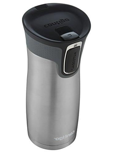 Contigo AUTOSEAL West Vaccuum-Insulated Stainless Travel Mug, oz, Steel &