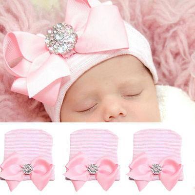 Baby Newborn Girl Infant Toddler Bowknot Beanie Cute Hat Hos