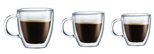 bistro double wall insulated glass espresso mugs