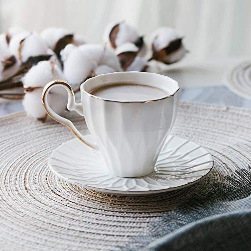BTäT- Tea Saucers, 4 with Gift Cups, Coffee Cups, Cup British Cups, Porcelain Set, Latte Cups, White Cups