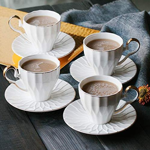 BTäT- Cups Saucers, Set with Gold Gift Cups, Coffee Cups, Cup British Cups, Porcelain Tea Latte Cups, Espresso Mug, White Cups