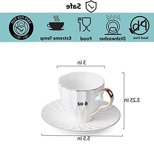 BTäT- Saucers, Set of Gift Coffee Cups, White Cup Set, British Coffee Cups, Tea Latte White Cups